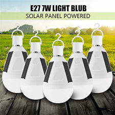 5x 7W Solar Panel Powered LED Bulb Light Portable Outdoor Camping Emergent Lamp