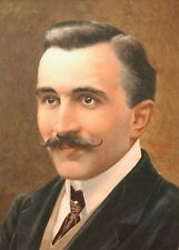ROUAULT French watercolour drawing painting portrait young man mustache costume