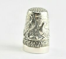 More details for antique style love birds family thimble and pincushion 925 sterling silver