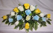 artificial wedding flowers top table decoration yellow baby blue and ivory roses