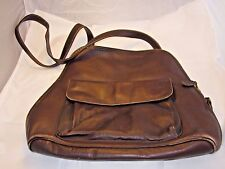 FRYE GENUINE LEATHER BROWN BACKPACK PURSE LARGE MESSENGER BAG VTG