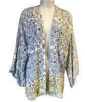 NOMADS Bohemian Women's UK 10 OSFA Kimono Shrug Boho Caftan Rayon Top Hippie