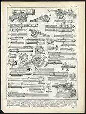Antique Print-CANNON-BARREL-SECTION-MECHANICAL-Larousse-1897