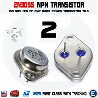 2pcs 2N3055 NPN AF Amp Audio Power Transistor 15A/60V Bipolar TO-3