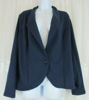 New Womens Zeagoo Navy Blue Blazer XL Stretch Jacket One Button V-neck Unlined
