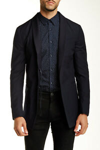 John Varvatos Shawl Collar Wool Jacket Mens Blazer Midnight Blue Size 50, US 40