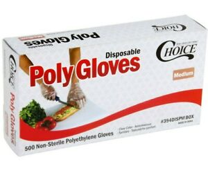 500 Disposable Poly Gloves Medium Powder Free Clear General Purpose Latex Free