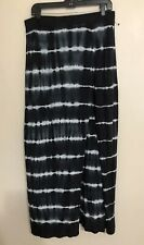 New Express Maxi Skirt Medium Black & White Tye Dye Print Side Split
