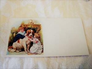 Vintage Antique Blotter With Children Large Brown and White Dog