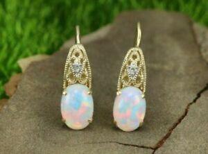4Ct Oval Cut Fire Opal & Diamond 14k Yellow Gold Over Lever Back Dangle Earrings