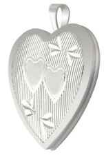 New 1in 0.925 Sterling Silver 2 Photo Heart Locket Pendant Charm