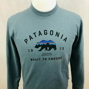 Patagonia Uprisal Crew Sweatshirt XSmall Mens Blue Mountain Bear Logo Pullover