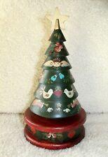Vintage Wood Music Box Handmade Hand Painted Christmas Tree