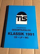 TELDEC IMPORT SERVICE - TIS - ALPHABETISCHER GESAMTKATALOG KLASSIK '91 -LP MC CD