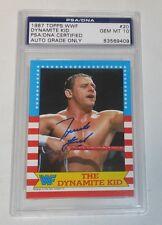 Dynamite Kid Signed 1987 Topps WWF Card PSA/DNA WWE Gem Mint 10 British Bulldogs