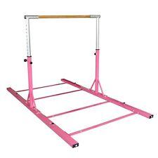 Gymntrax 3 - 5 FT Heavy Duty Adjustable Gymnastics Bars Kids Home Gymnastic Bar Pink