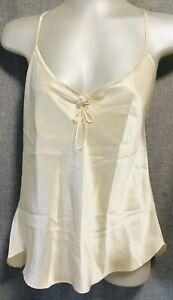 Vintage 100% Silk Diane's Lingerie Camisole Top Beige Spaghetti Straps Size M