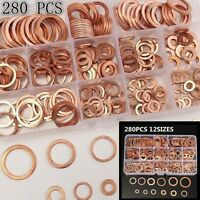 280PCS 12 Sizes- Assorted Solid Copper Sump Plug Assorted Engine Seal Washer Set