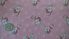 "Vintage Feedsack Feed Sack Fabric RED & WHITE FLORAL ON PINK 36""X42"""