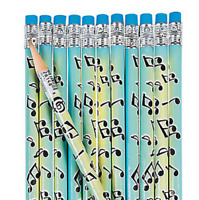 Pack of 12 - Musical Notes Pencils with Erasers -  Song Music Party Bag Fillers