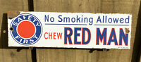 VINTAGE CHEW RED MAN PORCELAIN METAL SIGN USA TOBACCO ADVERTISING NO SMOKING
