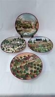 Vintage 1995 Block Country Village Salad Plates 4 Different Farm Scenes By Gear