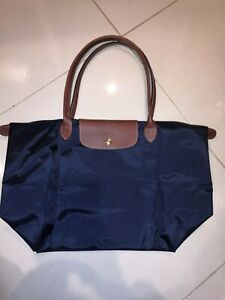 France Made Longchamp Le Pliage Large Tote Bag Navy Authentic Special Offer