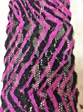 1Yard Quality Stretch Net Lace Trim 5.5cm Wrist Bands Lingerie Sawing Pink/Black