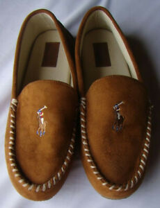 POLO RALPH LAUREN Mens 11 Faux Suede Moccasin Slippers Chestnut Brown NWOB