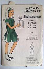 4)Patron Modes & Travaux; Robe en velours et guipure 6-7 ans et 8-9 ans