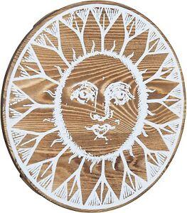 Boho Aesthetic Dark Brown Burnt Wood Sun Face Wall Mounted Art Plaque Decor