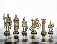 Roman Chess Pieces gold - black weighted