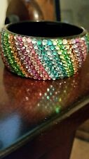 SALE!!Vintage large rainbow rhinestone Lucite cuff bracelet wide bangle BRACELET