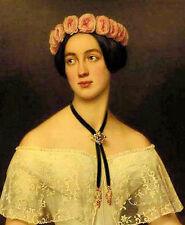 Oil Joseph Karl Stieler - elisabeth von sachsen altenburg nice young girl roses