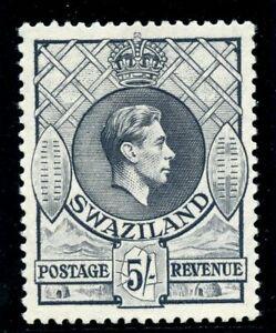 Swaziland 1938 KGVI 5s grey (p13½x13) superb MNH. SG 37.