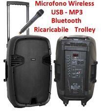 """CASSA AMPLIFICATA ATTIVA 15"""" trolley ricaricabile WIRELESS BLUETOOTH FM USB SD"""