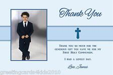 10 Personalised Communion or Confirmation Thank You Cards Boy Photo 2
