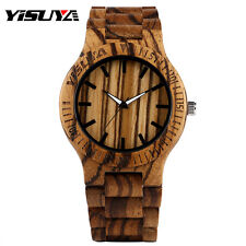 YISUYA Nature Wood Bamboo Wooden Strap Stripe Men Quartz Wrist Watch Bracelet