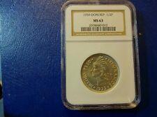 1959 1/2 Peso Dominican Republic MS 63