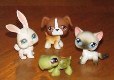 Littlest Pet Shop Siamese Cat #5 Boxer Dog #25 Turtle #8 White Rabbit #3 LPS Lot