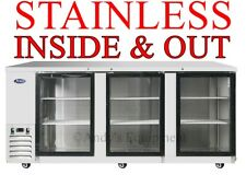 "90"" Glass Door Back Bar Cooler/ Refrigerator Bottles Cans 7 ft 6 inches wide Nsf"