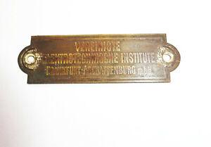 Schild Vereinigte Elektrotechnische Institut Frankfurt Radio Beschriftung !