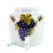 Water Crock Dispenser Grapes Vine Ceramic Porcelain Pot Spigot Faucet Valve New