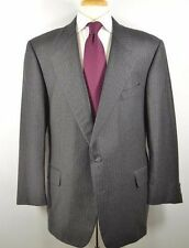 Hickey Freeman Canterbury Suit Jacket Pants Gray Stripe Flannel 46