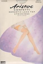 ARISTOC CONFETTI ROMANTIC LACE TOP STOCKINGS - MEDIUM - CREAM SILK - (BRAND NEW)