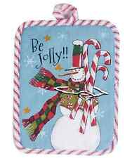 BE JOLLY!! Snowman with Candy Canes Christmas Potholder by Kay Dee Designs