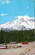 1950s Mt Rainier National Park Inspiration Point Red Buses Postcard DU