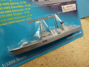 HMS Dragon type 45 on a card.. waterline diecast Triang Minic Ships