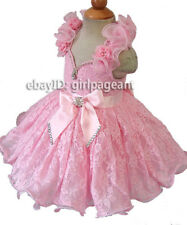 Infant/toddler/baby Pink Lace Ruffles Halter Crystals Pageant Dress 3T G211A