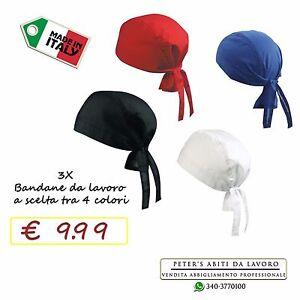 Bandane da Lavoro per cuoco Chef Pizzaiolo Cotone Ristorante Pizzeria Cappelli